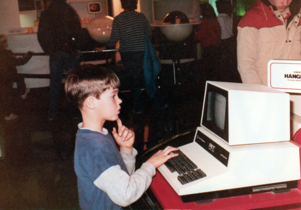 Me using a Commodore PET